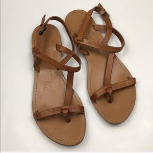 Marc Fisher Tan Leather Strappy Sandals